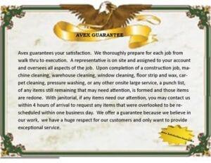 AVEX guarantee certificate